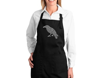 Full Length Dual Pocket Apron - Created Using the First Few Lines from Edgar Allen Poe's The Raven