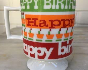 vintage HAPPY BIRTHDAY pedestal mug, footed coffee cup by S. Behs,  retro birthday mug, colorful gift mug