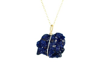 Blue crystal necklace - azurite necklace - crystal necklace - mineral necklace - an azurite wire wrapped onto 14k gold vermeil chain - J02