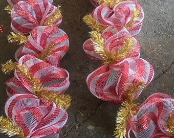 Valentines day garland,Valentines swag,Red and white garland