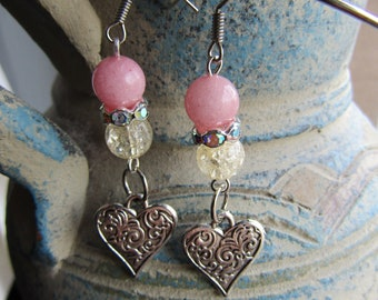 Pink agate and glass pearls tretchy bracelet and Pink agate earrings