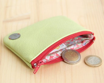 Recycled Lime green Leather Woman Wallet / Red Green zipped change Purse / Vintage Strawberry wallet / Birthday Gift Personalized / PMF46