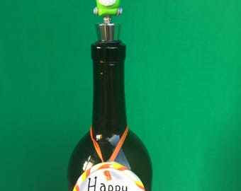 Halloween Frankenstein Monster Wine Stopper with Custom Wine Charm made from Polymer Clay