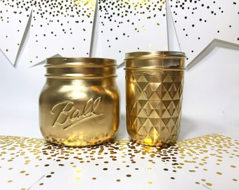 Gold Desk Accessory - Cute Office Accessories - Deskie Decor - Gold Office Decor - Chic Office   - Gold Mason Jars - Gold Vase -