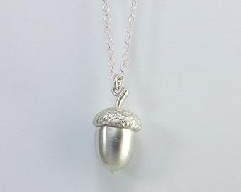 Handmade Silver Acorn Pendant.
