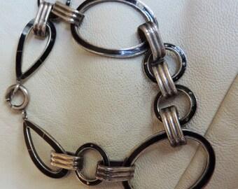 black enamel art deco bracelet sterling silver