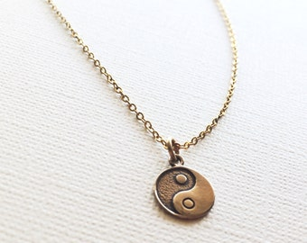 Yin-Yang Necklace in Bronze, Yin Yang Jewelry,  Yoga Jewelry, Friendship Necklace, Gift For Her.