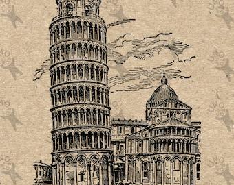 Antique image Leaning Tower of Pisa Instant Download picture  printable Vintage clipart digital graphic  burlap, stickers, decor HQ 300dpi