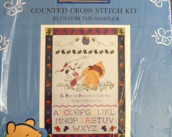 """Leisure Arts Pooh Counted Cross Stitch Kit - Blustery Day Sampler - Approx 17"""" x 12.5"""""""
