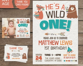 Wild One Birthday Boy Invitation, Wild One Birthday, Wild One Birthday Boy, Tribal,Tribal Invitation, Wild One Invite, party, 1st, Printable