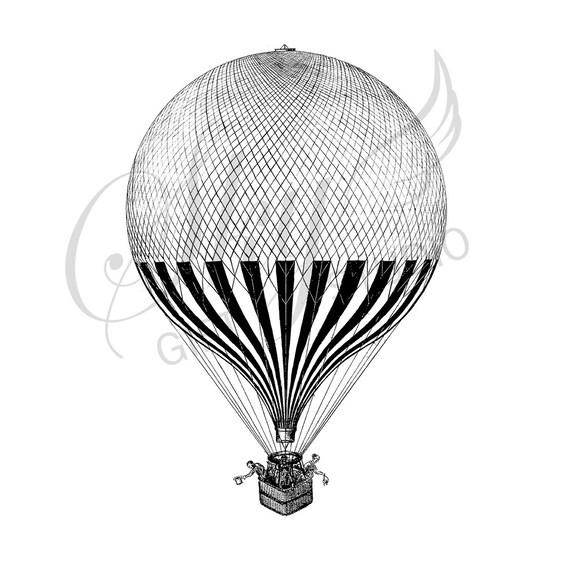 Vintage de aire caliente globo ilustración imprimible Vintage