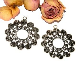 Pendant big flower rosette 61 x 54 mm approx silver Tibetan
