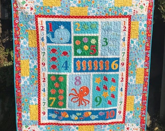 Handmade Child Quilt, ocean theme