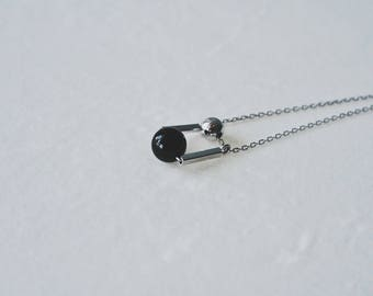 Up and down,black & white,925 silver, necklace