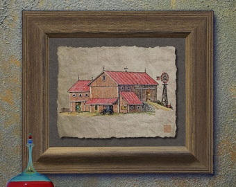 Nostalgic buggy windmill barn art Cute yesteryear print adds rustic wall decor as 8x10 or 13x19 Amish barn art print