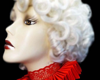 Red Satin And Lace Elizabethan Neck Ruff Ruffled Collar Victorian Steampunk