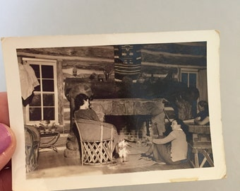 VINTAGE PHOTO of COUPLE, Picture of couple  fireplace, fireplace photo, vintage fireplace photo, 1950 photo of couple, black & white photo