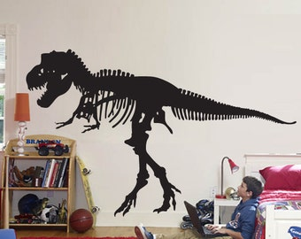 """Wall Decal Sticker Removable T REX Dinosaur 46"""" Tall 76""""wide in White or Black"""