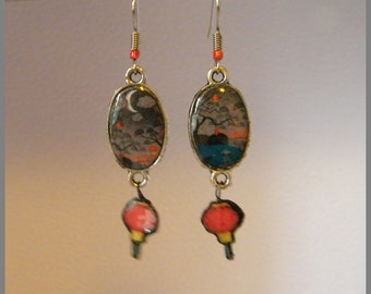 """""""Lanterns in the garden"""" - resin Cabochon and Silver earrings"""