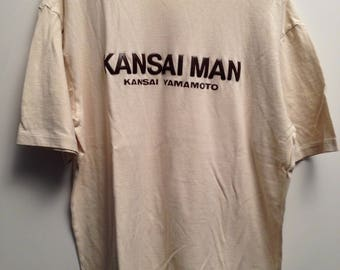 KANSAI YAMAMOTO beige T Shirt with brown plastic stuff logo printed on front