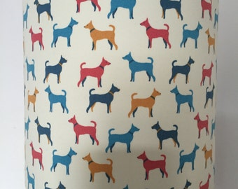 Colourful Red, Yellow and Blue Dogs on white background Lamp Shade.