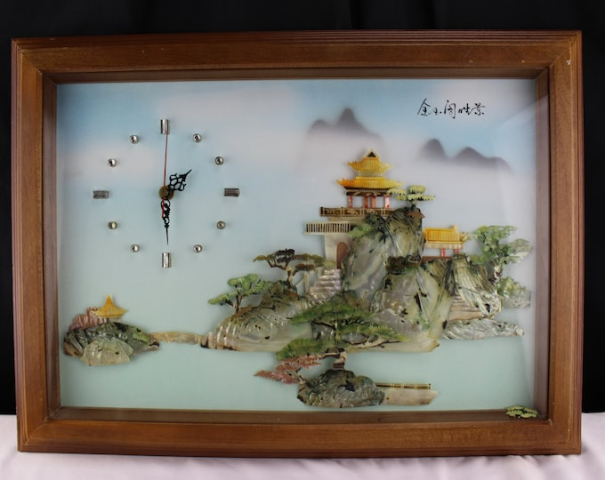 Vintage Chinese 3D Shadow Box Wall Clock with Mother of Pearl  Jade Abalone Shell, Village Scene