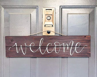 Welcome Sign • Wood Sign • Hanging Wood Sign • Front Door Sign • Rustic Sign • Farmhouse Decor • Hand Lettered Sign • Handpainted Sign