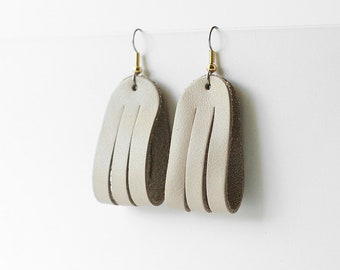 Leather Earrings / Mini Sliced Leather / Parchment