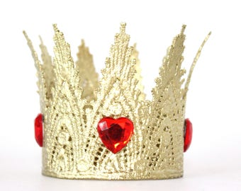 Red Queen of Hearts Gold Lace Crown Headband - All Ages - Lace Crown - Halloween - Photography Prop - Costume