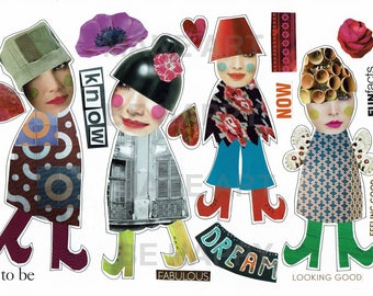 Collage sheet, journal sheet, quirky characters, mixed media dolls nr D44