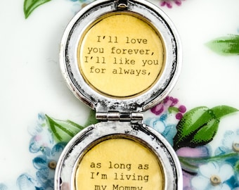 I'll love you forever I'll like you for always - my mommy you'll be - Mother Locket - Antique Silver - Quote Lockets - Mom and Me