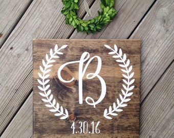 Initial sign, personalized wedding gift, engagement gift, bridal shower gift, wood name sign, monogram sign, custom name sign, wedding gift