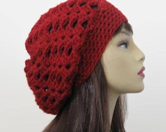 Dark Red Beanie Maroon slouch beanie Crochet Slouchy Hat Maroon Crochet  women's hat Slouch Knit Beret Maroon slouch beret Red Slouchy Tam .