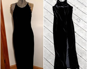 Vintage 90's Full Length Black Velvet Dress w Slit || Black Spaghetti Strap Maxi Dress || Black Racer-Back Maxi Dress