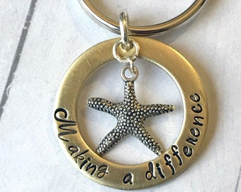Making A Difference Keychain- Teacher Gift- Starfish Story- End Of Year Gift- Appreciation Gift- Personalized Gift- Counselor- Day Care