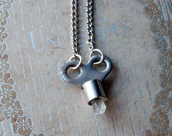 The Keeper of Light Quartz Key Necklace / Healing Stone / Quartz Crystal Necklace / Key Necklace for Men / Mens Key Necklace
