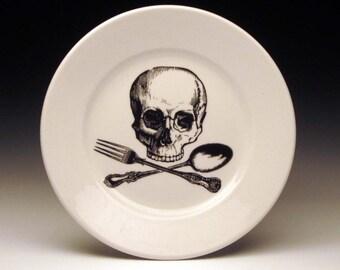 skull and cross-utensils dessert plate