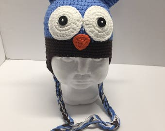 Light blue and brown owl crochet hat, blue owl hat, owl crochet hat with ear flaps