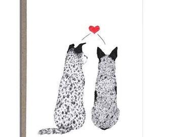 """Dog Valentine, Australian Cattle Dog, Blue Heeler, Love Greeting Cards, 4x5, """"Puppy Love"""""""
