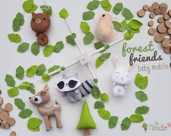 Forest Baby Mobile - forest creatures mobile - crib mobile - cot mobile - nursery mobile - hanging mobile- woodland mobile