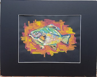 Original Fish Painting Acrylic on Paper Professionally Matted 16x20
