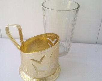 Great gift, Vintage, tea glass holder, USSR vintage cottage chic decor retro kitchen decor vintage Soviet glass holder metal tea coaster