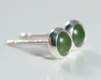 nephrite jade 4mm sterling silver stud earrings pair