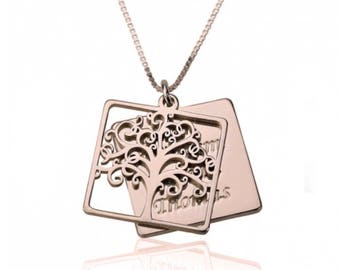 Engraved Family Tree and Names Necklace