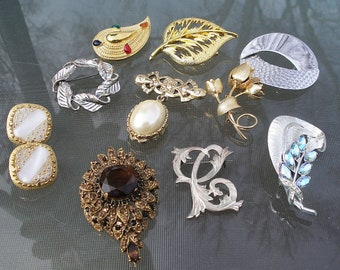Vintage Jewelry Lot Danecraft Sterling Hobe Judith Signed Brooch Pins Earrings