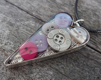 Heart necklace, mixed media pendant, resin jewelry, mixed media jewelry, heart charm, love, button necklace, birthday present, sewing gift