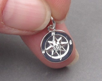 Bright Sterling Silver Compass Charm, Bracelet Charm, Sterling Silver Compass Pendant, Nautical Charm, Necklace Pendant with Jump Ring