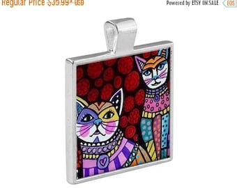 SALE ENDING- White Cats Folk Art Jewelry - Pendant Metal  Gift Art Heather Galler Gift-  Cat Lovers Abstract Modern Vegan Gifts