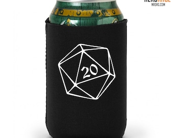 D20 Can Cooler, Dungeons and Dragons Can Holder, Dice Can Cozie, Geeky Party Favors, Game Night, Boyfriend Gift, Girlfriend Gift