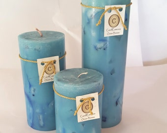 Ocean Breeze scented long lasting hand-poured pillar candle